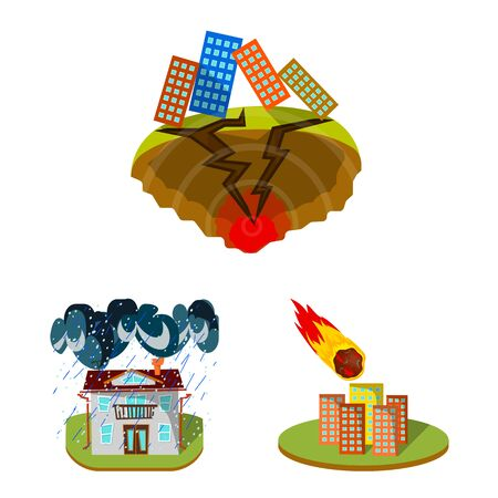Isolated object of cataclysm and disaster icon. Set of cataclysm and apocalypse stock vector illustration.