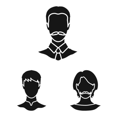 Vector illustration of character and profile symbol. Collection of character and dummy stock symbol for web.