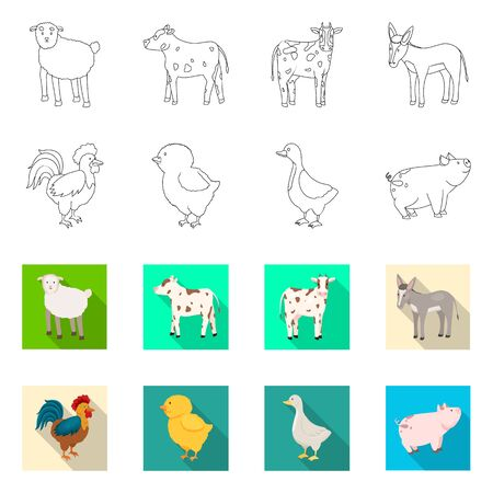 Vector illustration of breeding and kitchen symbol. Set of breeding and organic stock symbol for web. 矢量图像
