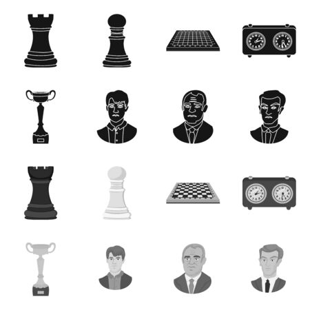 Vector illustration of checkmate and thin symbol. Set of checkmate and target vector icon for stock. Иллюстрация