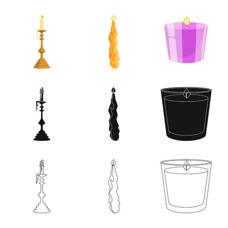 Isolated object of relaxation and flame symbol. Collection of relaxation and wax vector icon for stock.