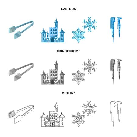 Vector design of texture and frozen sign. Collection of texture and transparent stock symbol for web.