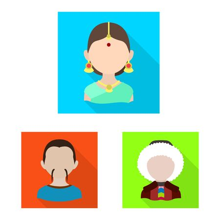 Vector illustration of nation and race symbol. Collection of nation and user stock symbol for web.