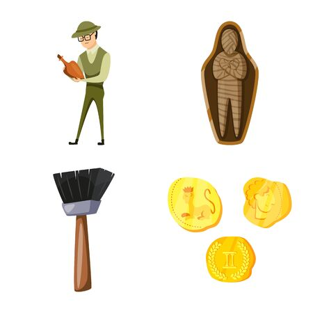 Vector illustration of archaeology and historical. Set of archaeology and excavation stock vector illustration.