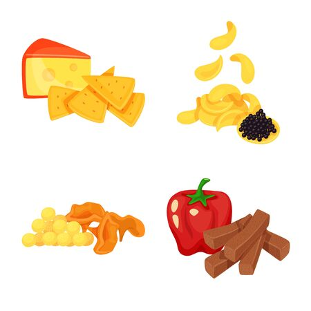 Vector design of food and product symbol. Collection of food and party stock symbol for web.