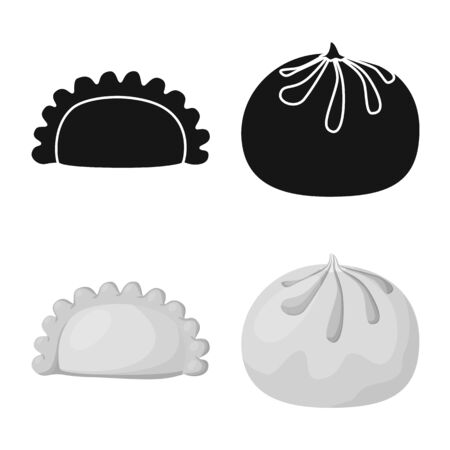 Isolated object of products and cooking sign. Set of products and appetizer vector icon for stock.