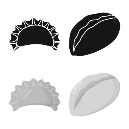 Isolated object of products and cooking symbol. Set of products and appetizer vector icon for stock. Illustration