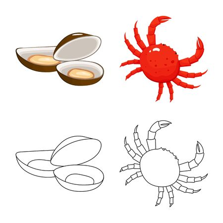 Vector illustration of fresh and restaurant symbol. Collection of fresh and marine stock vector illustration.