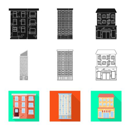Isolated object of municipal and center. Collection of municipal and estate stock vector illustration.