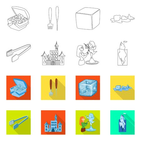 Isolated object of texture and frozen symbol. Set of texture and transparent vector icon for stock.