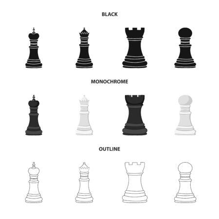 Disegno vettoriale di scacco matto e icona sottile. Raccolta di scacco matto e simbolo di borsa di destinazione per il web.