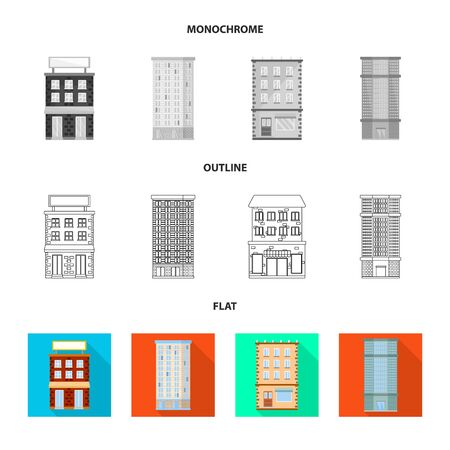 Vector design of municipal and center icon. Set of municipal and estate vector icon for stock. Vettoriali
