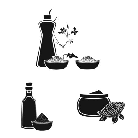 Vector illustration of oil and agriculture symbol. Collection of oil and glass stock symbol for web.