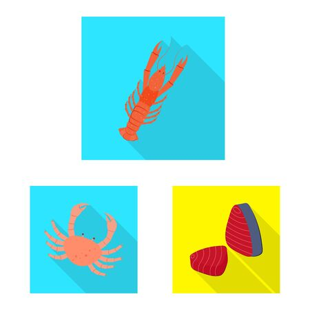Vector design of product and ocean icon. Set of product and restaurant stock symbol for web.