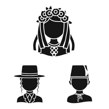 Isolated object of person and culture sign. Set of person and race vector icon for stock.