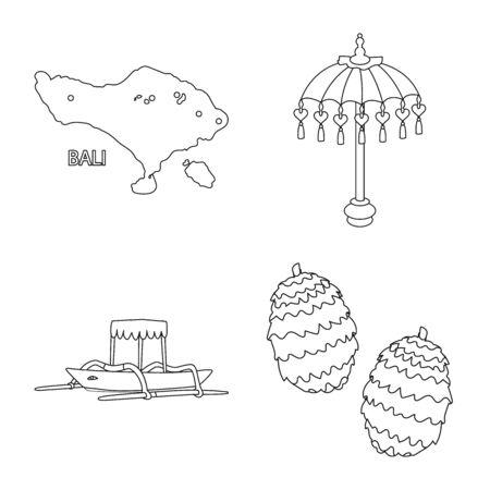 Vector design of balinese and caribbean symbol. Set of balinese and geography vector icon for stock.