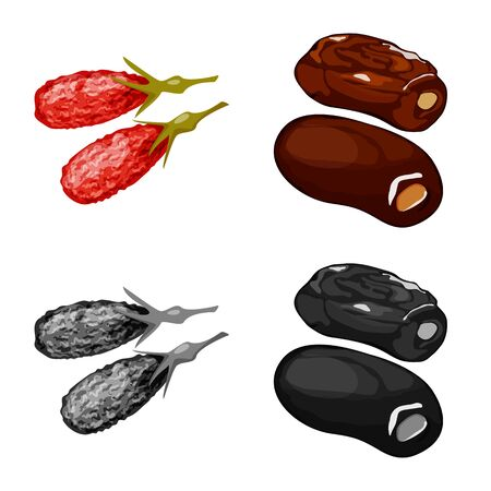 Vector illustration of food and raw symbol. Collection of food and nature stock symbol for web. Illustration