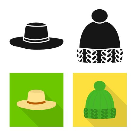 Isolated object of clothing and cap icon. Collection of clothing and beret stock symbol for web.