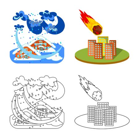 Isolated object of weather and distress icon. Collection of weather and crash stock vector illustration.