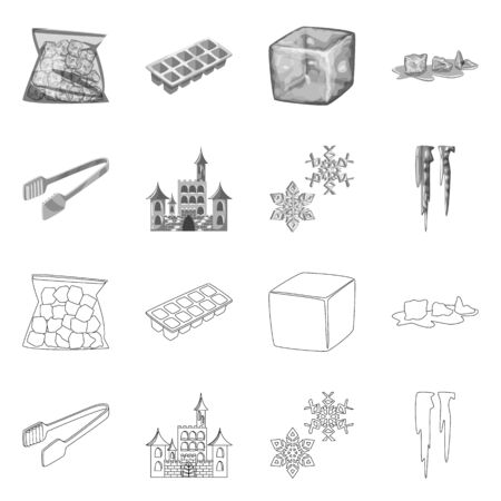 Vector illustration of texture and frozen icon. Set of texture and transparent stock symbol for web. Stock Illustratie