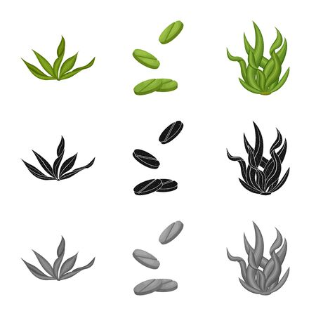 Vector illustration of protein and sea symbol. Collection of protein and natural stock vector illustration.