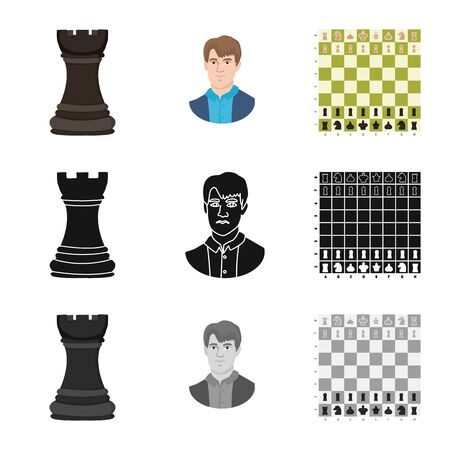 Vector illustration of checkmate and thin sign. Collection of checkmate and target vector icon for stock.