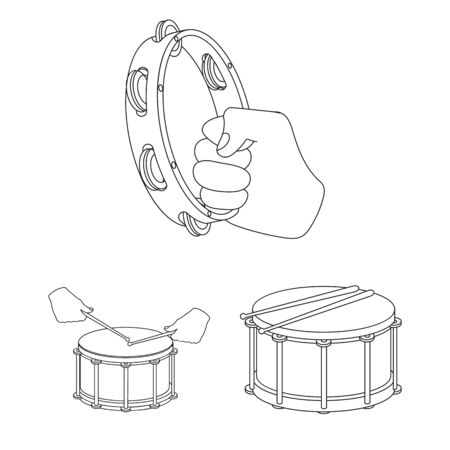 bitmap design of drum and instrument. Set of drum and festival bitmap icon for stock. Imagens