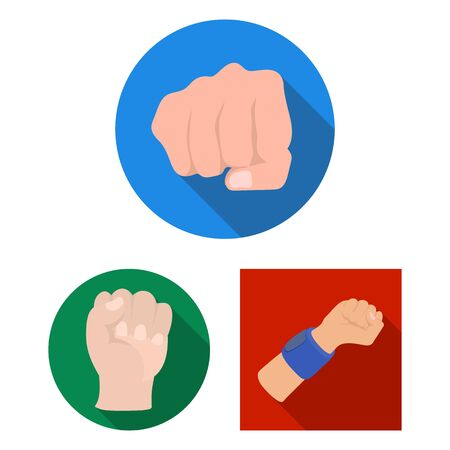 bitmap illustration of fist and punch  . Set of fist and hand stock symbol for web.