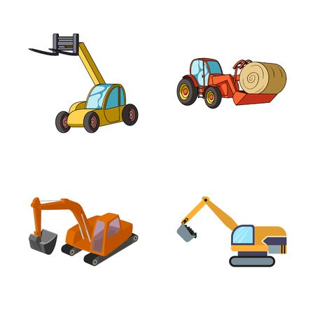 Isolated object of front and excavator. Set of front and bucket stock bitmap illustration.