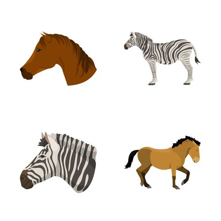 Isolated object of trot and running. Collection of trot and clipart stock bitmap illustration. 스톡 콘텐츠