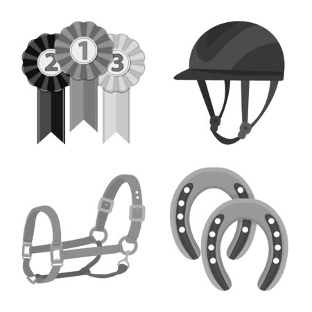 Isolated object of race and horse symbol. Collection of race and racing stock bitmap illustration.