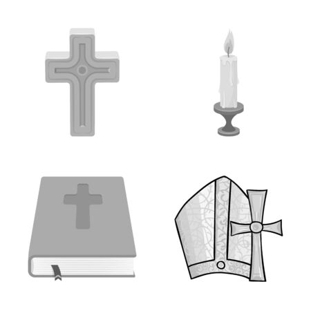 bitmap design of muslim and items sign. Set of muslim and candle stock bitmap illustration. Stok Fotoğraf