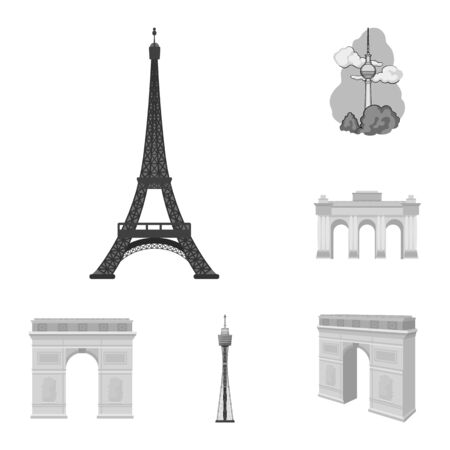 Isolated object of street and architecture symbol. Collection of street and tour bitmap icon for stock.