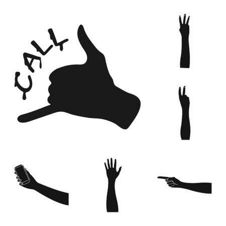 Isolated object of animated and thumb logo. Collection of animated and gesture stock symbol for web.