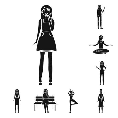 bitmap design of emotions and female symbol. Collection of emotions and body stock bitmap illustration. 版權商用圖片