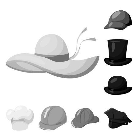 bitmap illustration of hat and helmet. Collection of hat and profession bitmap icon for stock.