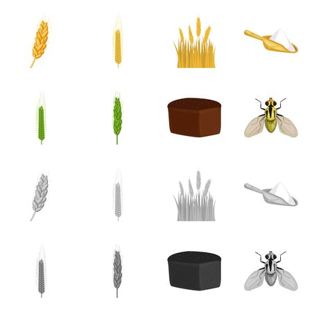 Isolated object of agriculture and farming. Set of agriculture and plant stock symbol for web.