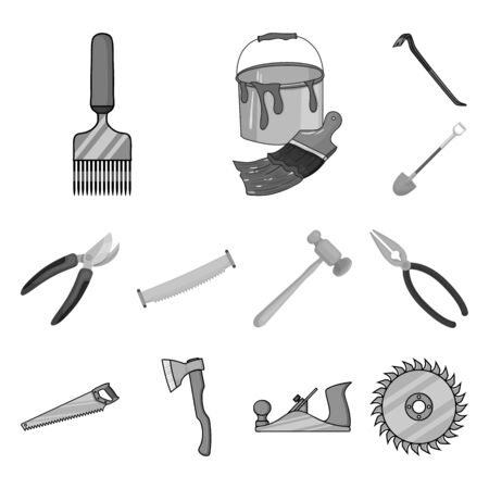 bitmap illustration of tool and construction sign. Collection of tool and carpentry stock symbol for web. Zdjęcie Seryjne
