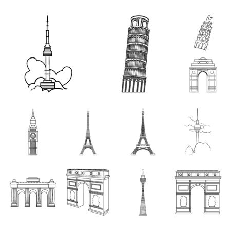 Isolated object of street and architecture. Collection of street and tour stock bitmap illustration.