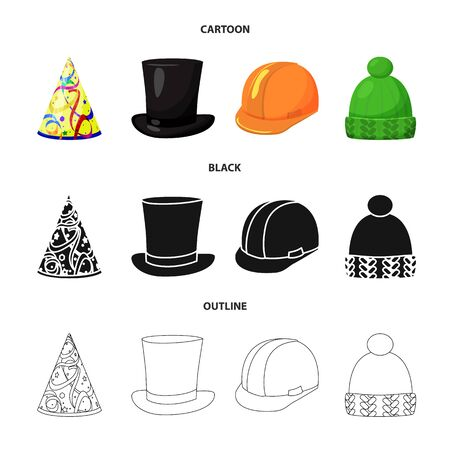 Isolated object of clothing and cap sign. Collection of clothing and beret stock bitmap illustration.
