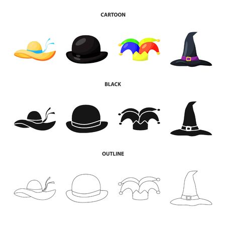 bitmap design of clothing and cap. Collection of clothing and beret bitmap icon for stock.