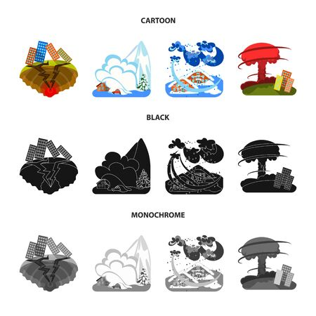 bitmap design of weather and distress icon. Collection of weather and crash stock bitmap illustration. Stock Photo