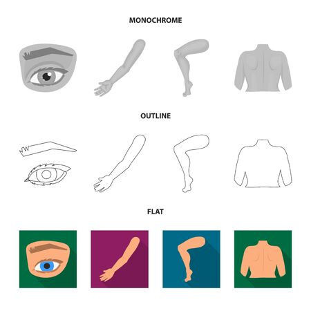 Isolated object of body and part. Set of body and anatomy stock bitmap illustration. Banque d'images - 128153336