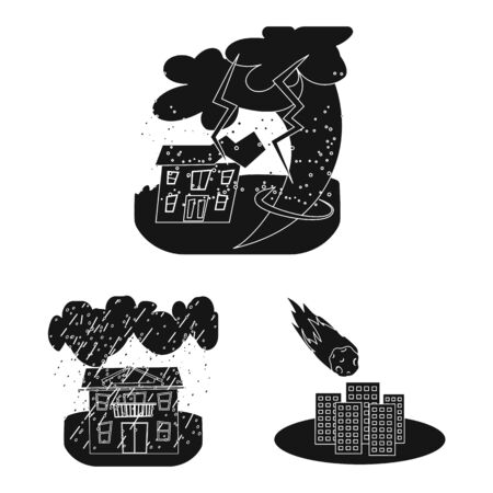 Isolated object of calamity and crash. Collection of calamity and disaster stock vector illustration.