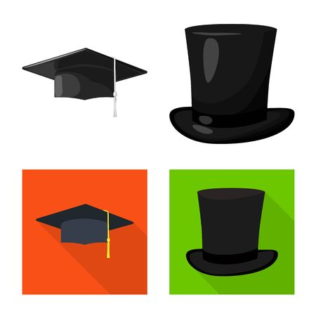 Vector design of clothing and cap sign. Set of clothing and beret vector icon for stock. Ilustracja