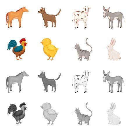 Illustration vectorielle de l'icône de l'élevage et de la cuisine. Collection d'icônes vectorielles d'élevage et organiques pour le stock.