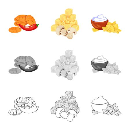 Vector design of taste and seasoning. Collection of taste and organic stock vector illustration. Vettoriali