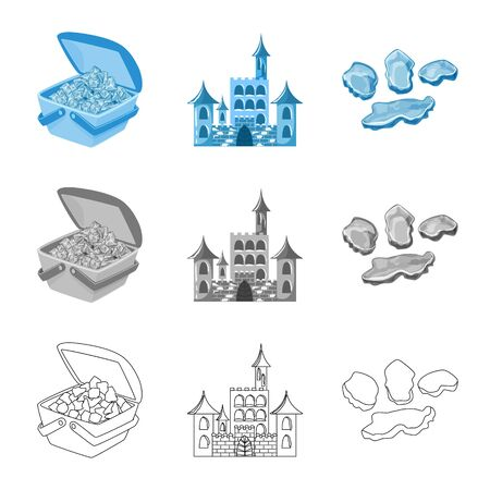 Vector design of texture and frozen symbol. Collection of texture and transparent stock vector illustration. Illustration