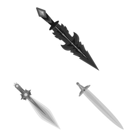 Vektor-Illustration von scharfen und Klingenzeichen. Sammlung scharfer und Dolchvorrat-Vektorillustration. Vektorgrafik