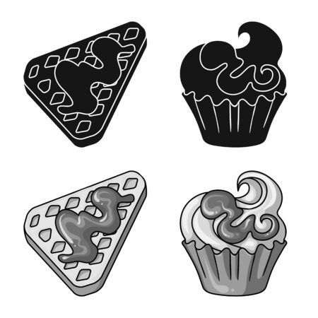 Vector illustration of confectionery and culinary symbol. Set of confectionery and product vector icon for stock. 向量圖像